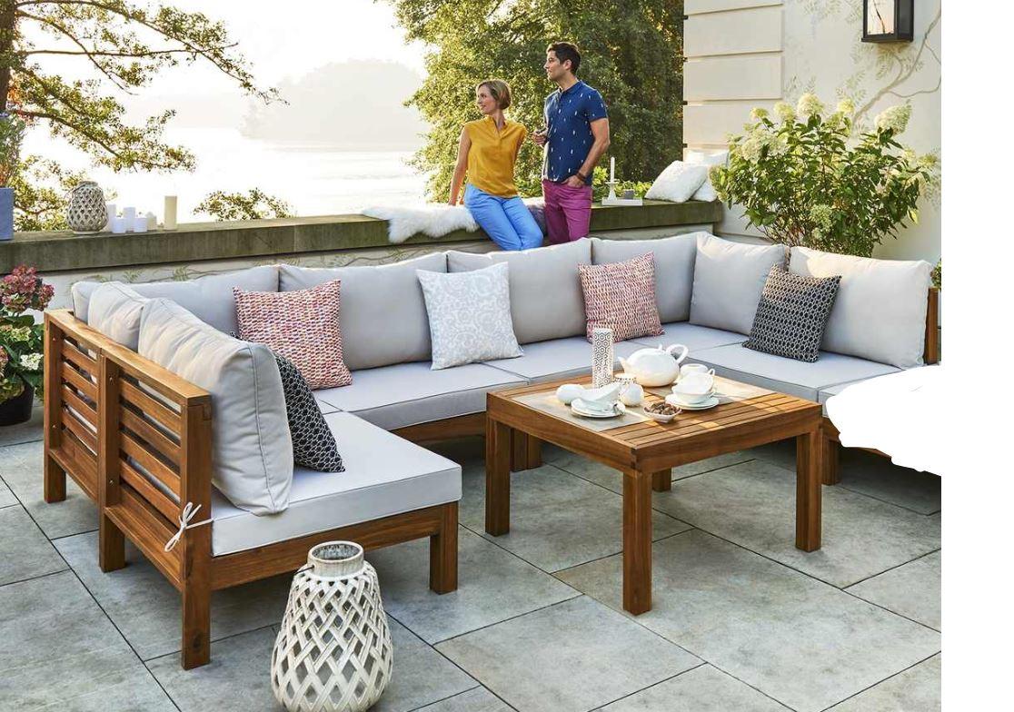 Garten-Sitzgruppe Cape, 6 Sitzmodule + Tisch inkl Auflagen [Möbel Kraft]