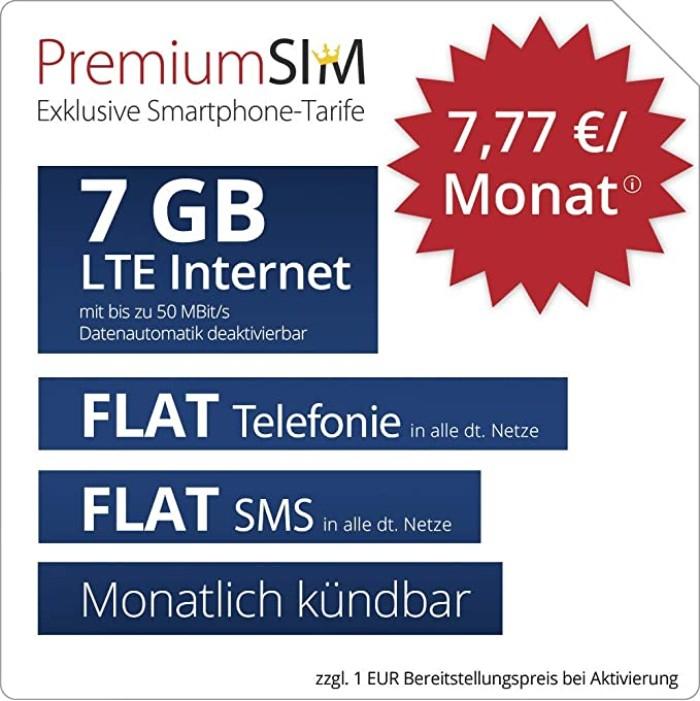 7GB LTE Premiumsim Tarif für mtl. 7,77€ inkl. Allnet- & SMS-Flat (monatlich kündbar, o2-Netz)