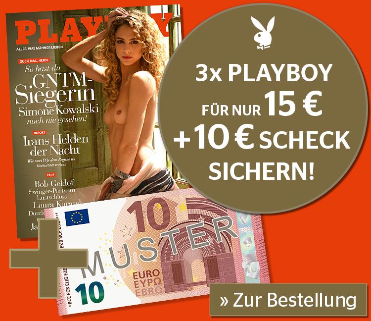 3 Ausgaben Playboy + 10€ Verrechnungsscheck für 15 €