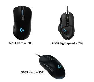 [Saturn & Amazon] Logitech G703 Hero 16K Gaming-Maus für 59€ | G403 Hero für 35€ | G502 Lightspeed Wireless für 79€