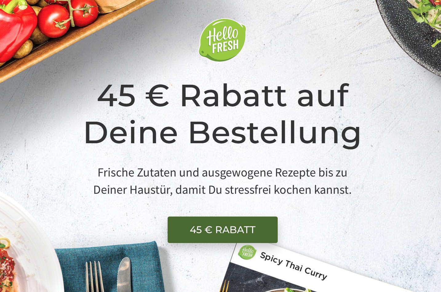 Wenn das Lieblingsrestaurant zu hat: 45 EUR Rabatt bei Hello Fresh (+kostenloser Versand)