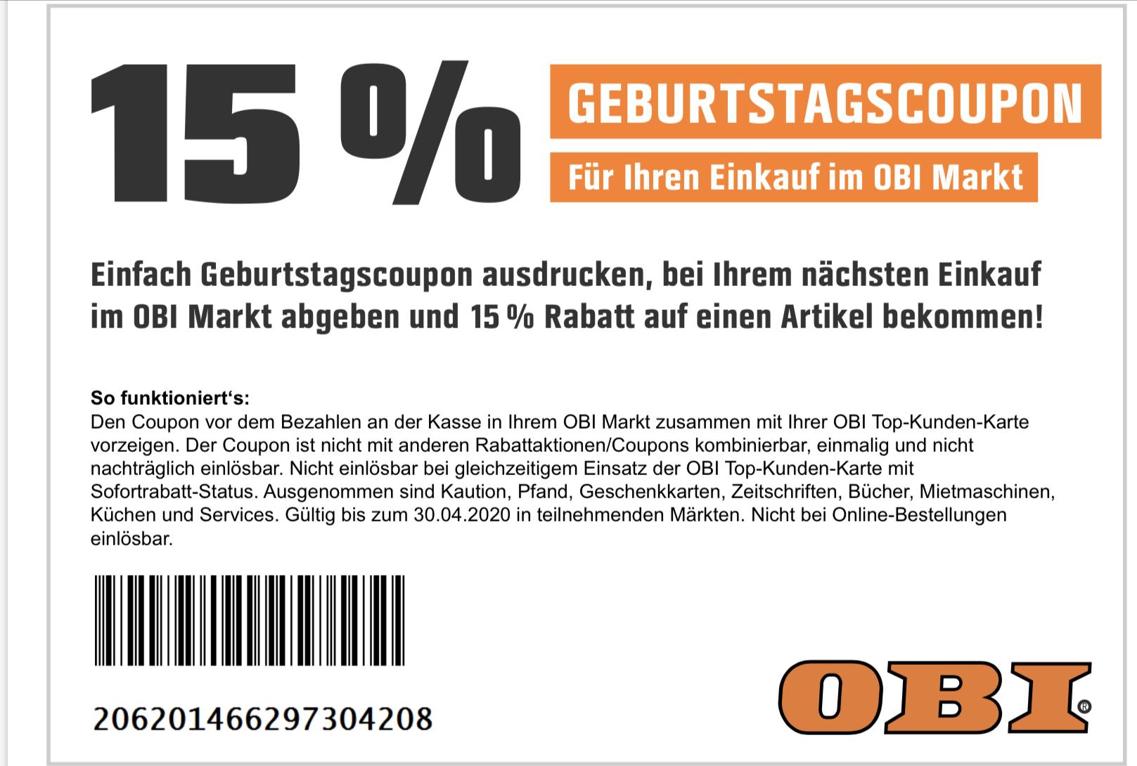 15% auf einen Artikel für Obi Kundenkarteninhaber + Prozente aus Kundenkarte