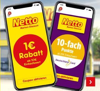 [Netto Marken-Discount] 1€ Rabatt ab 10€ Einkaufswert und 10-fache Punkte ab 20€ Einkaufswert in Netto App