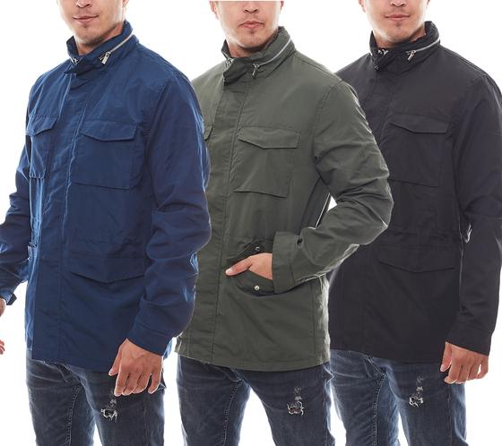Herren-Jacke leichte Regenjacke Navy, Schwarz & Khaki