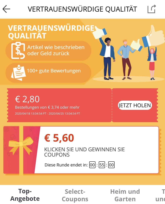 Bestandskunden personalisiert Aliexpress 2,66€ Rabatt bei 3,54€