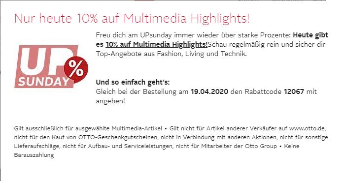 Otto 10% auf Multimedia (16% mit CB)