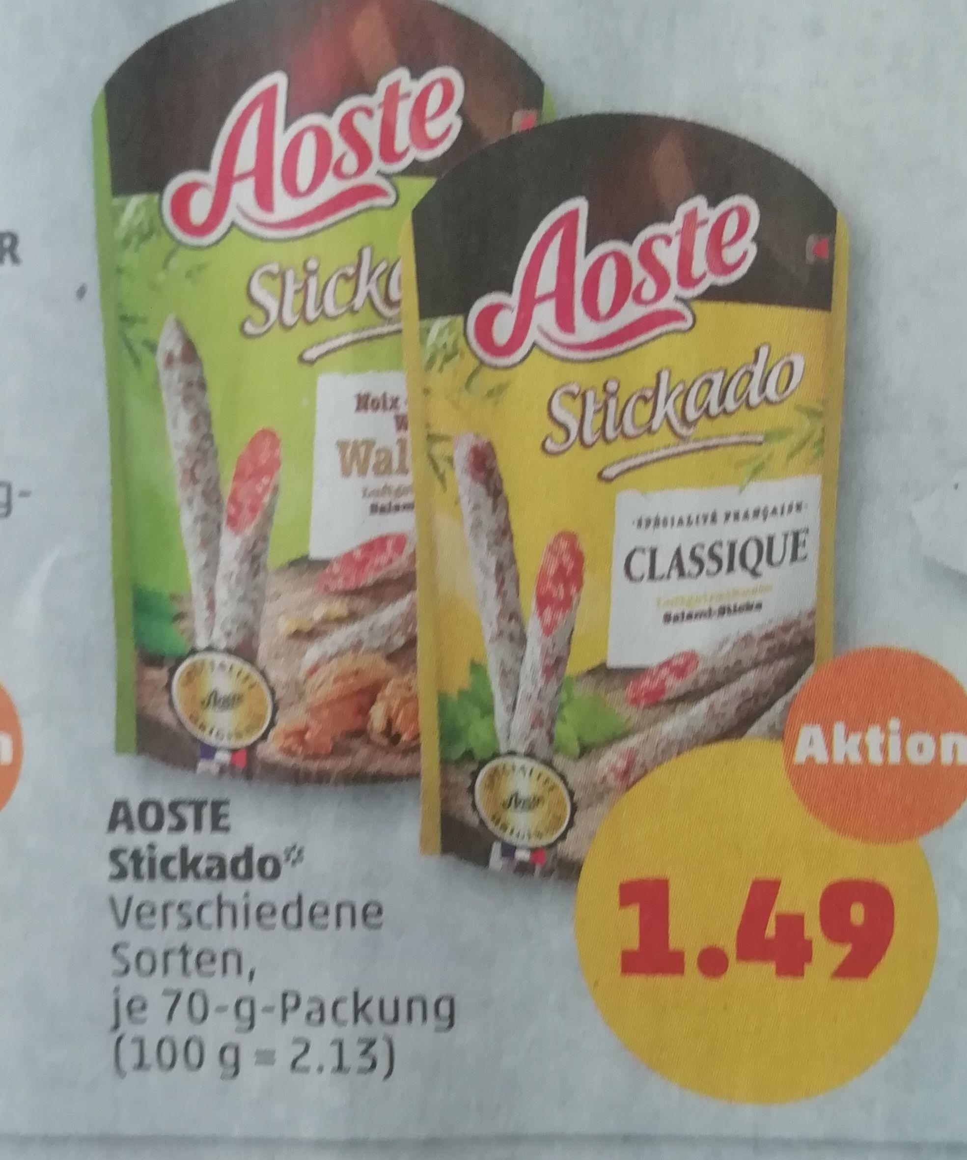 [Penny] 7x Aoste Stickado für 10,43€ + Bambus Brett gratis und 0,40€ Cashback bei Marktguru