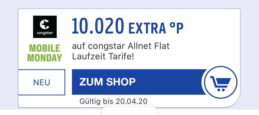 [Payback] Congstar Allnet Flat - 10.020 Punkte = 100,20€