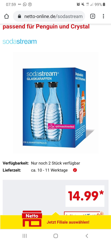 Sodastream Crystal 2.0 Flaschen bei Netto 2er Pack für 14,99€