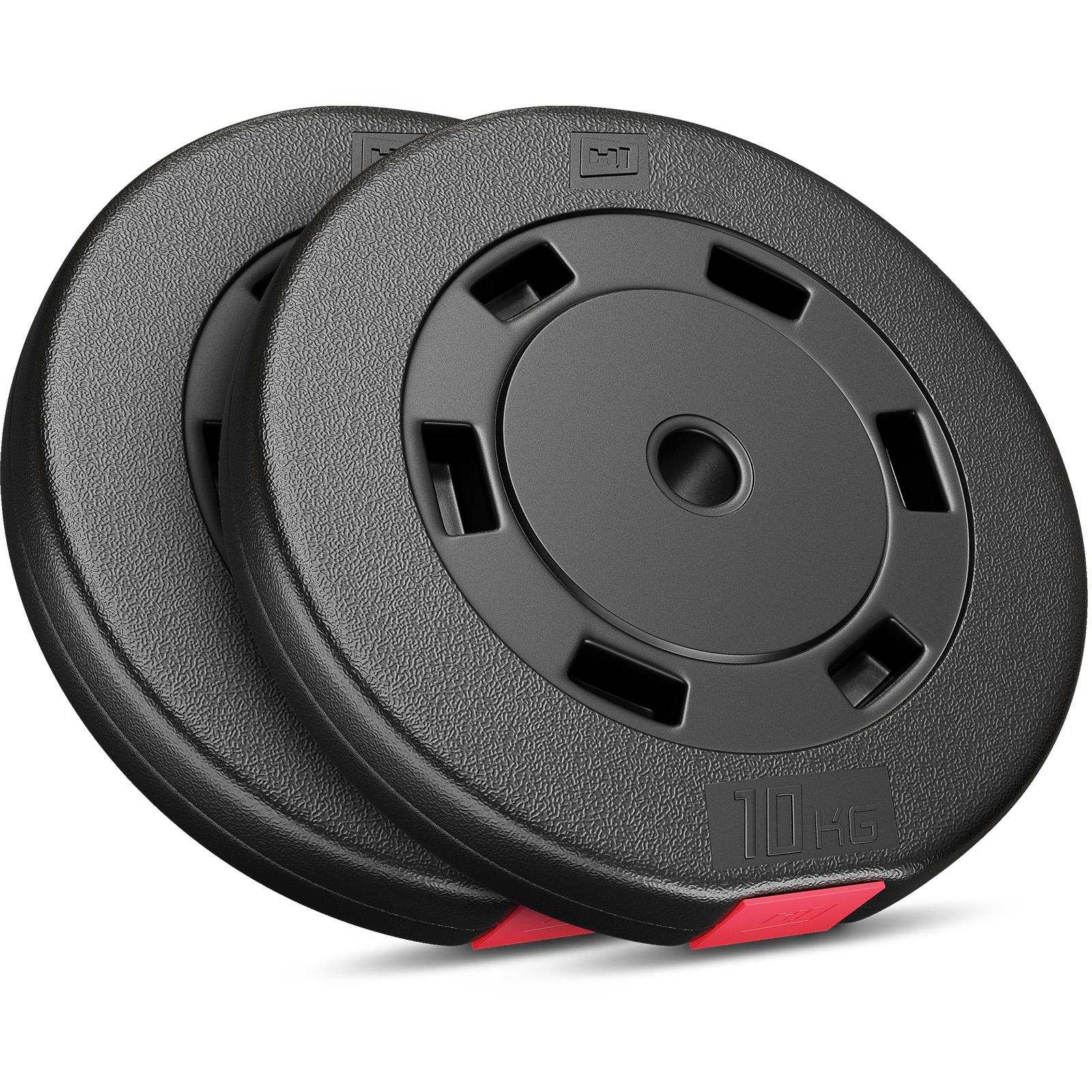 2x 10kg Hantelscheiben aus Kunststoff von Hop-Sport (Sand-Zement-Füllung, 30/31mm Lochdurchmesser, 54mm breit)