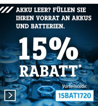 [Conrad] 15% Rabatt auf Akkus und Batterien