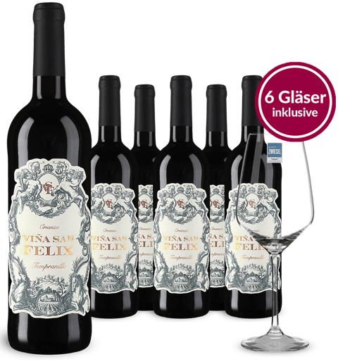 6 Flaschen Tempranillo Crianza 2016 + 6 Weingläser von Schott Zwiesel