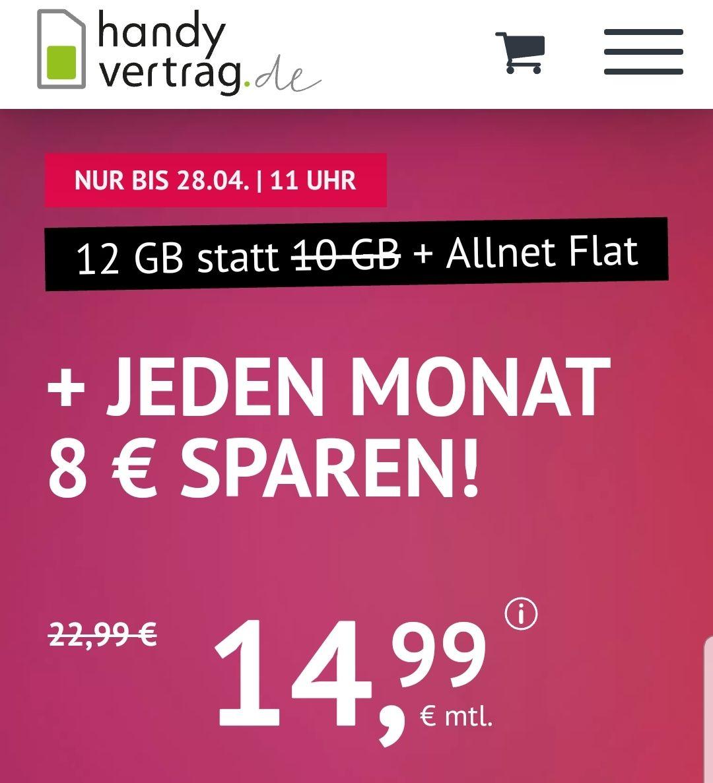 handyvertrag.de LTE Allnetflat 12 GB für 14,99€ anstatt 22,99€(O2Netz)