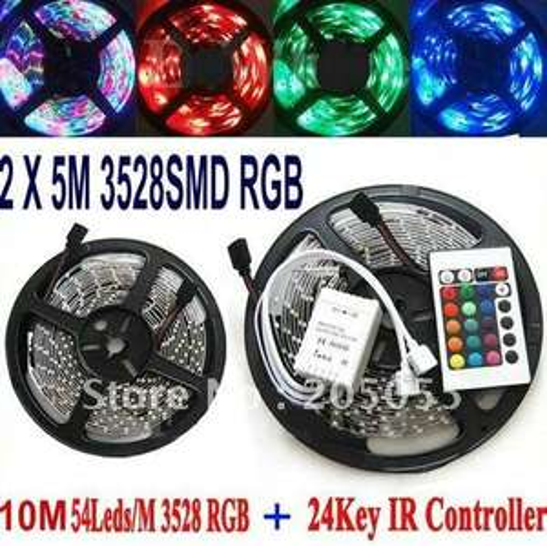 10M 60leds/M 3528 RGB Non-Waterproof Flexible Strip Lights +24Key IR Controller