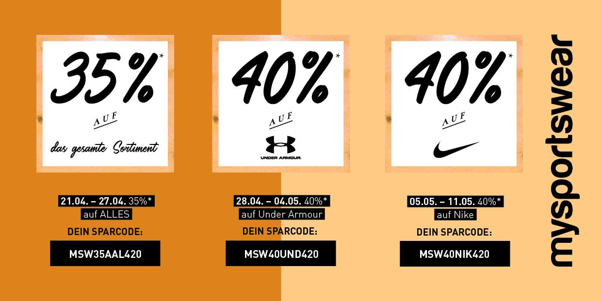 35 % auf Alles / 40 % auf Under Armour und Nike @mysportswear.de