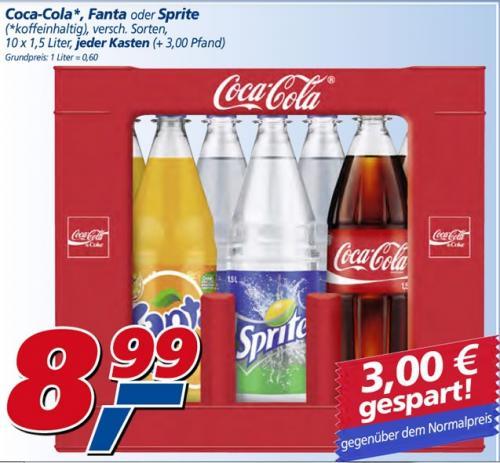 Cola, Fanta oder Spirte (10x1,5l) @ Real