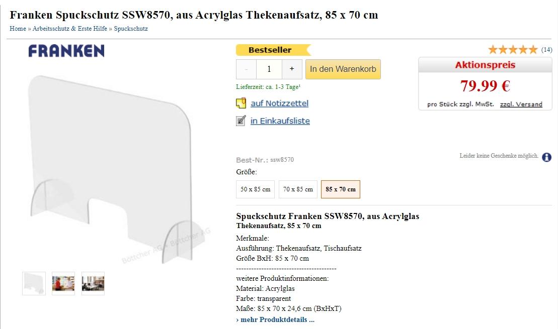 Ein Meisterwerk deutscher Innovationskraft: Acrylscheibe XXL 85x70cm mit integriertem Spezial-Aufsteller - Franken SSW8570