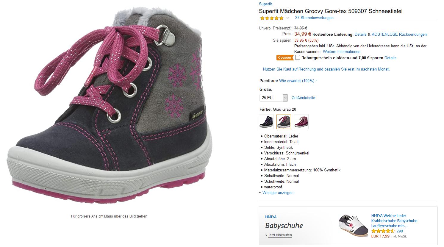 (Amazon prime) Superfit Mädchen Groovy Gore-tex 509307 Schneestiefel Kinder Schuhe Winterschuhe Kinderschuh versch. Größen