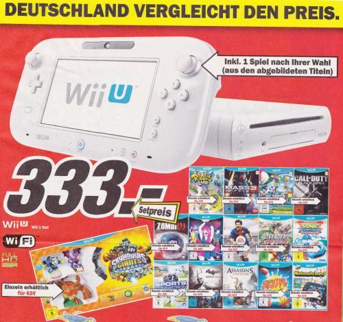 [offline] MediaMarkt Kreis AC Wii-U Konsole, Basic Pack mit 8 GB in weiß + Game für 333 €