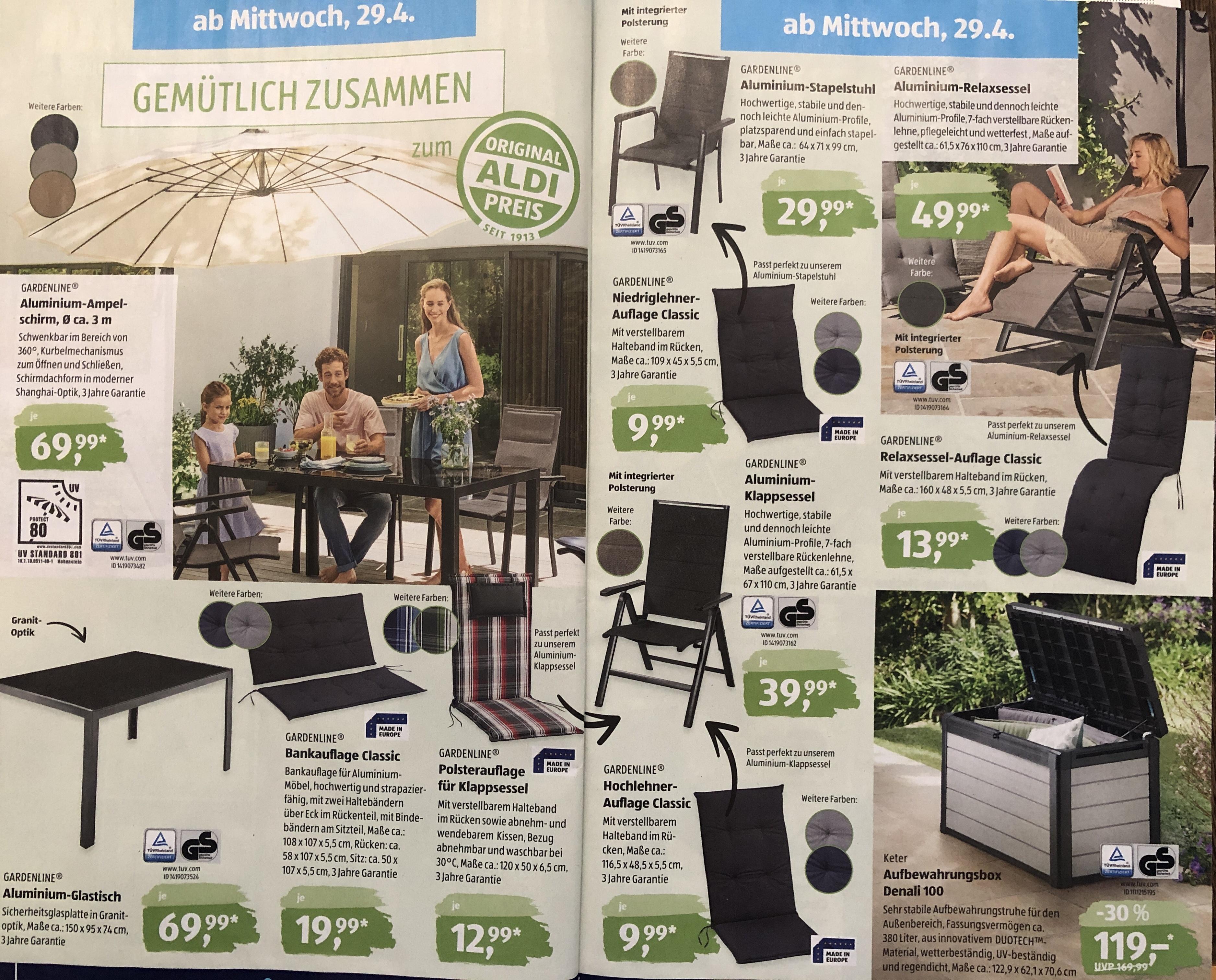 Alles für Garten & Balkon: Gartentisch, Stuhl, Relax-Sessel und Sonnenschirm bei Aldi Süd!