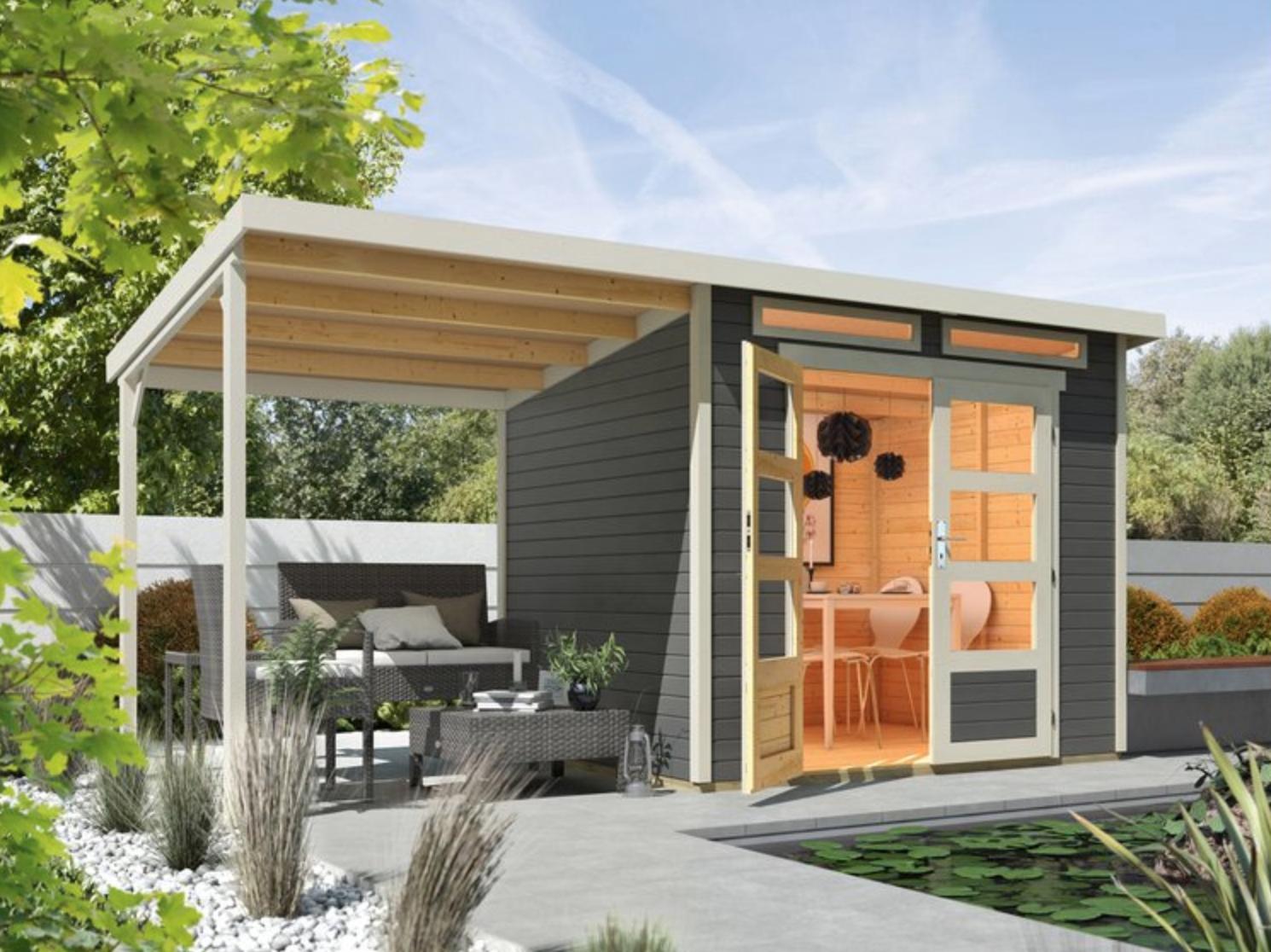 OBI online: 10% Rabatt auf ausgewählte Gartenhäuser - z.B. Wolff Finnhaus Holz-Gartenhaus Venlo Grau 426 cm x 213 cm davon 188 cm Anbaudach