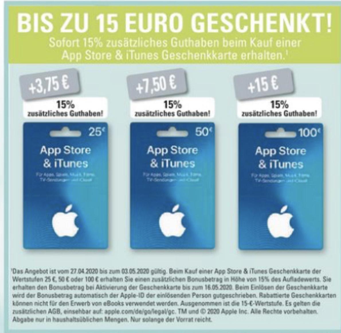 [Edeka & Marktkauf & Budni ] 15% Extra Guthaben für Apple AppStore & iTunes Geschenkkarten