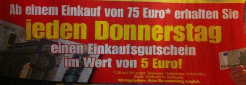 [Edeka Center] 5€ Einkaufsgutschein ab 75€ Einkauf jeden Donnerstag