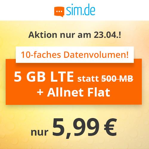 NUR HEUTE: 5GB LTE (50 Mbit/s) Tarif für mtl. 5,99€ von sim.de mit Allnet- & SMS-Flat (monatlich kündbar; Telefonica-Netz)