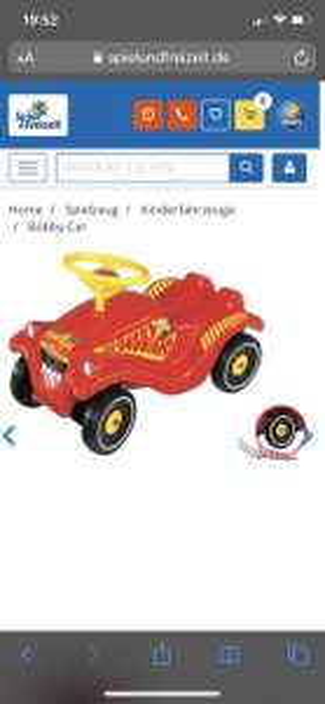Bobby Car mit Flüsterreifen (Feuerwehr)