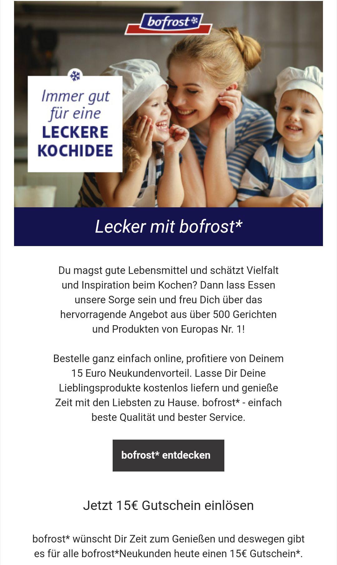 Bofrost Neukundenrabatt -15€ bei 45€ Mindestbestellwert
