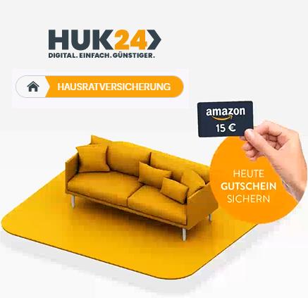 Wieder da: HUK24 Hausratversicherung bis 03.05. abschließen und 15 € Amazon.de Gutschein sichern / Bis 30€ für's Werben möglich