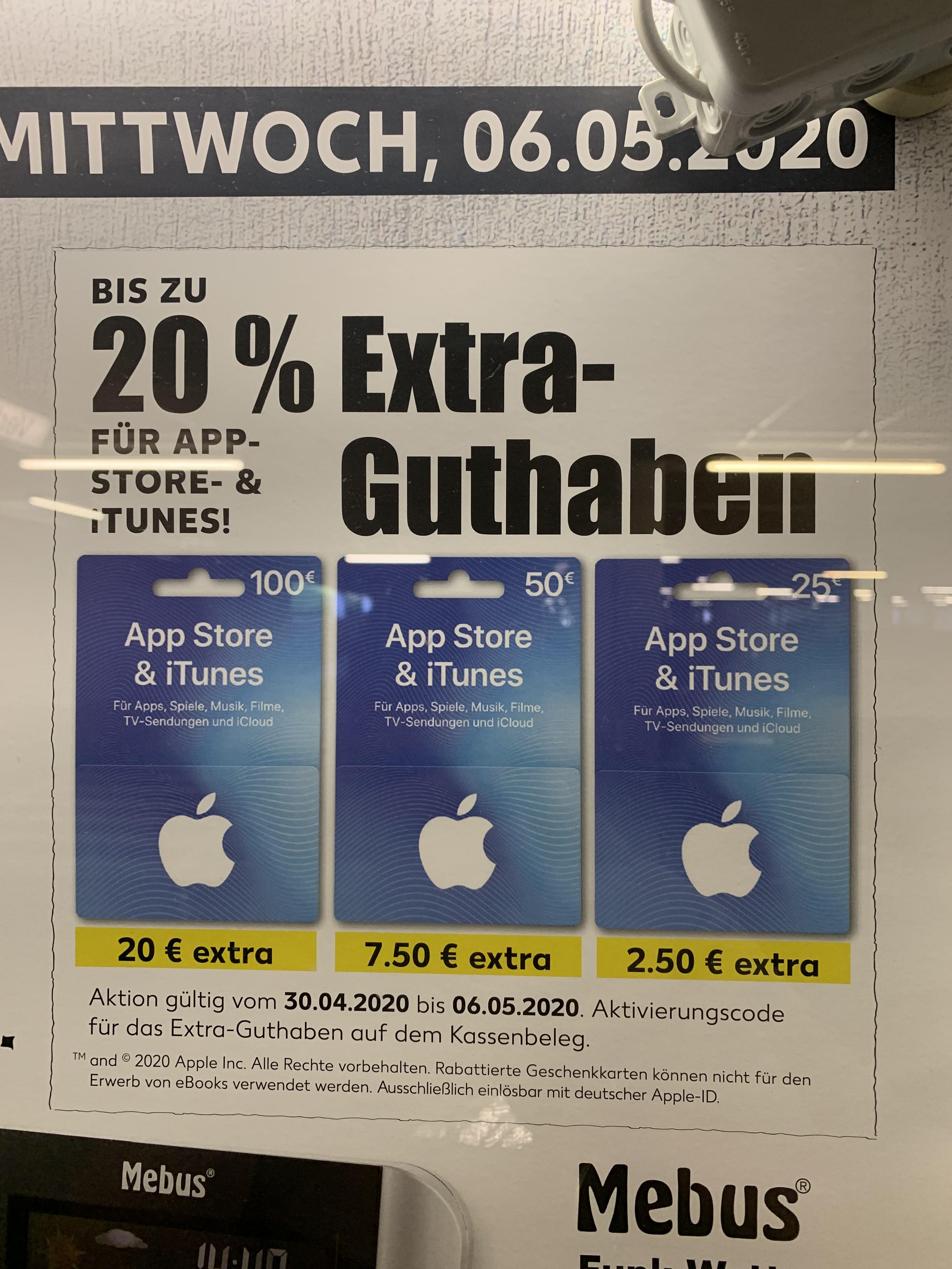 [Kaufland] Apple AppStore & iTunes bis 20% Extra Guthaben