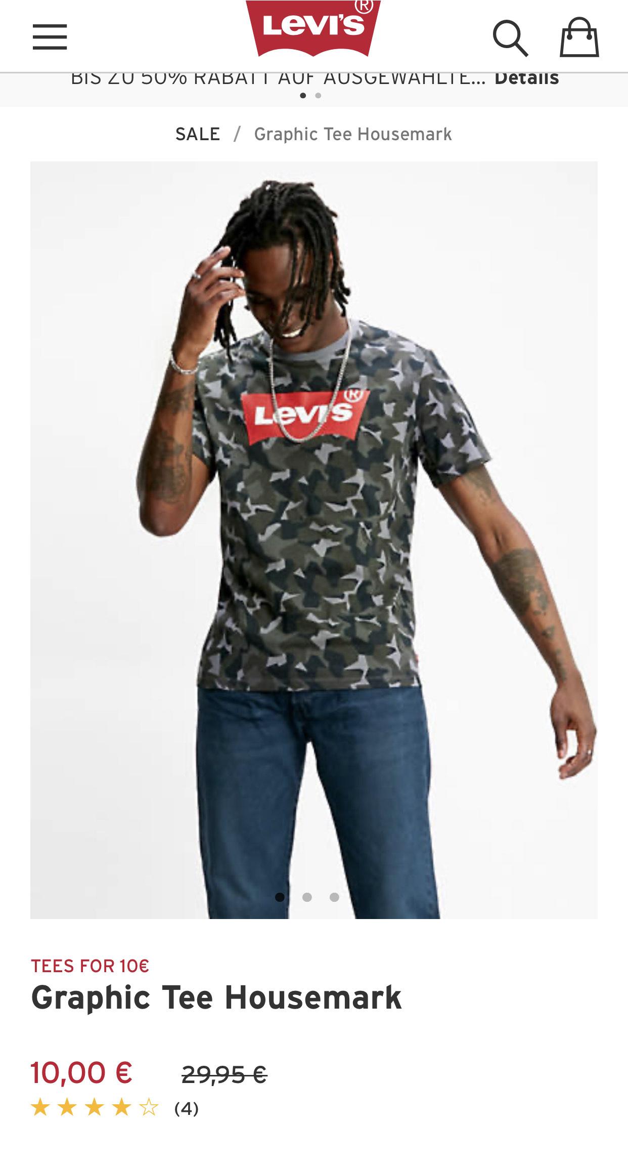 Ausgewählte Levi's Shirts für 10€ (nur heute)
