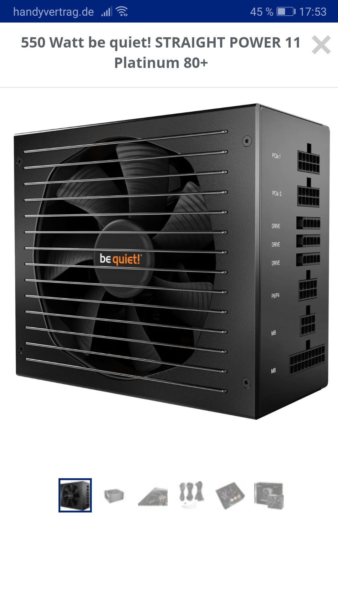 550 Watt be quiet! STRAIGHT POWER 11 Platinum 80+ (Mindstar)