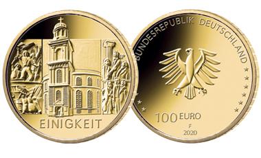 """[muenze-deutschland.de] 1/2 oz Goldmünze: 100-Euro-Goldmünze 2020 """"Säulen der Demokratie - Einigkeit"""""""
