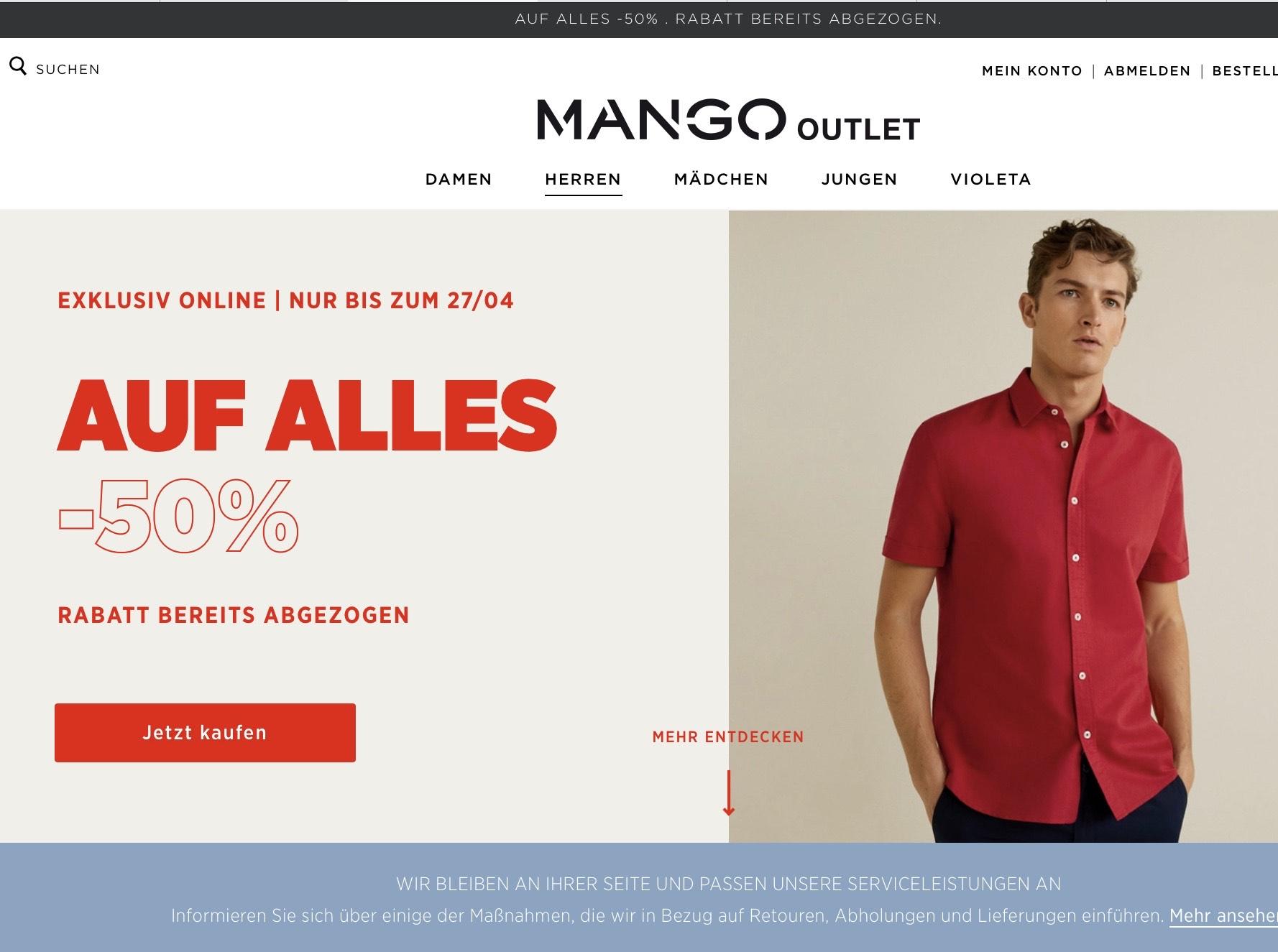 50% auf alles bei Mango-Outlet