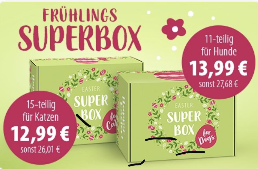 [Zooplus.de] Frühlings-Superbox für Katzen (12,99€) und Frühlings-Superbox für Hunde (13,99€) + ZooPunkte-Aktion