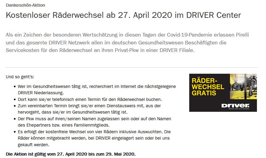 Kostenloser Räderwechsel ab 27. April 2020 im DRIVER Center / Mitarbeiter Krankenhaus, Pflege, Krankenpflege
