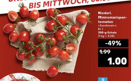 Mini-Roma-Tomaten 300g für 1€ oder Wassermelone das Kilo für 1€ [Kaufland ab 30.04.]