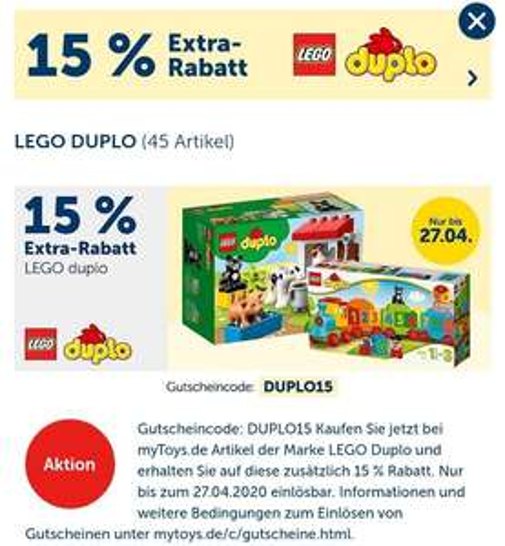 LEGO DUPLO 15% Rabatt und 8-fach Payback (mytoys)