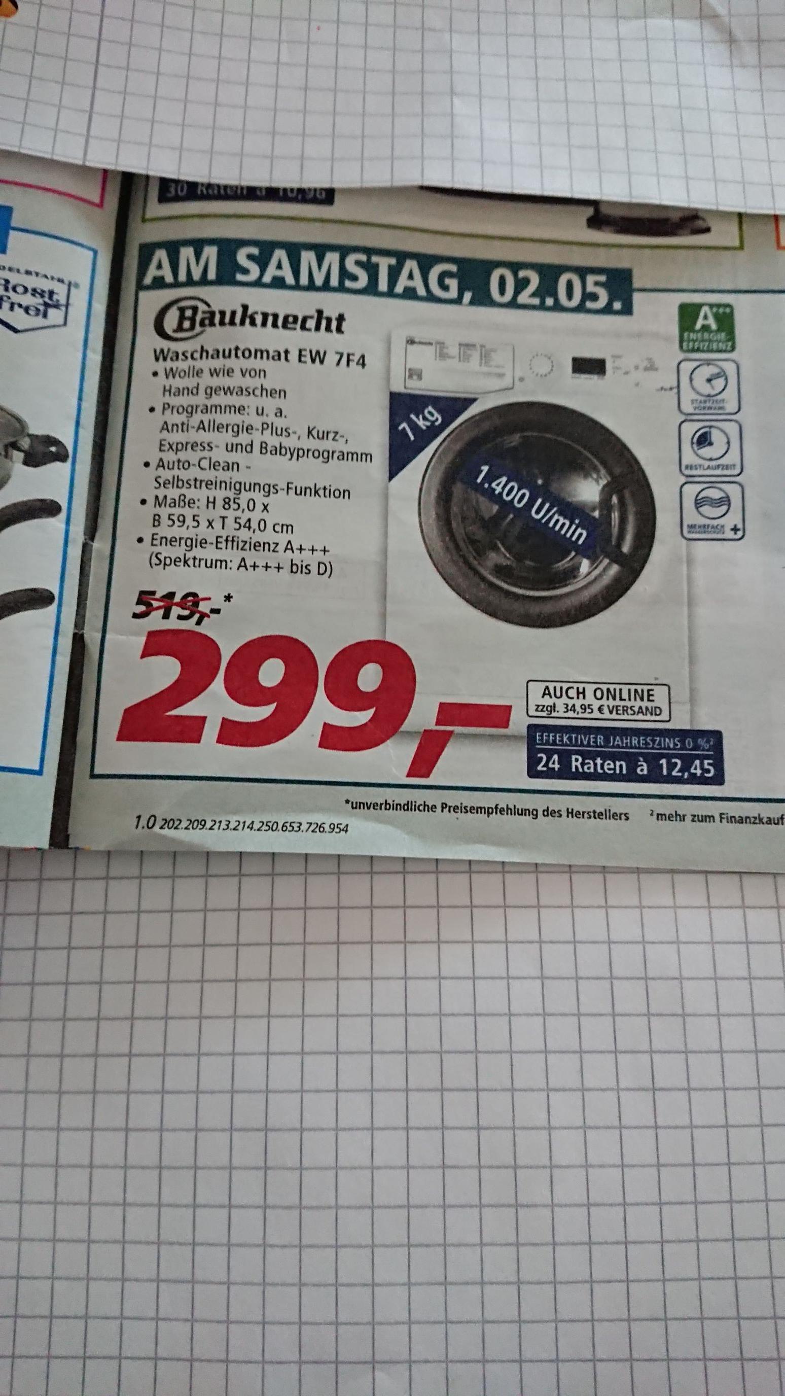 Waschmaschine Bauknecht EW 7FW, EEK A+++, 7kg, am Samstag bei [real]