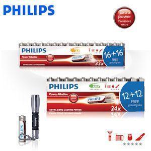 32 x AA und 24 x AAA plus LED- Stiftlampe Philips PowerLife Alkali Batterien  für 15,95€