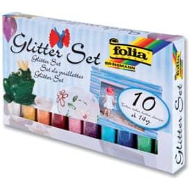 Folia Glitter-Set - 10 Tuben Glitterpulver à 14g