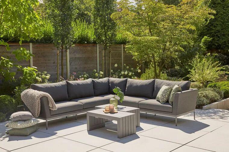Siena Garden Tango Loungeecke in L-Form mit 5 Sitzplätzen (12cm gepolsterte Auflagen) 195cm x 84cm x 70cm (B/T/H)