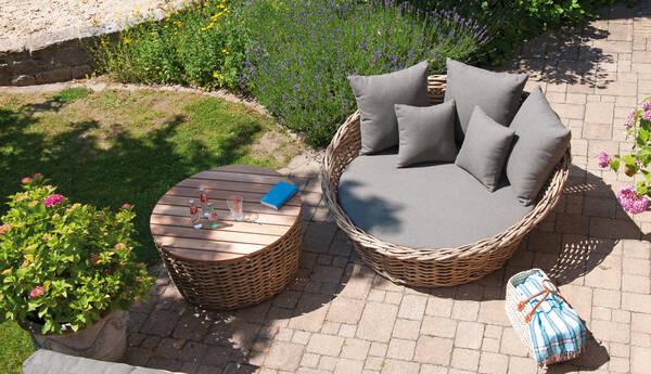 """Loungebett """"Sands"""" von Sonnenpartner - Alu und Kunststoffgeflecht - Farbe light oaks- Ø 150 cm x 67 cm, inkl. Kissen"""