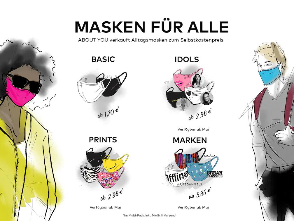 [About You] Masken für alle - 5er Pack für 13,80 / 10er für 17,02€ (Selbstkosten)
