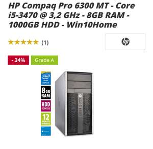 Afbshop Monster Deal HP Compaq Pro 6300 MT - Core i5-3470 @ 3,2 GHz - 8GB RAM - 1000GB HDD - Win10Home, Office PC (gebraucht), +6% Shoop
