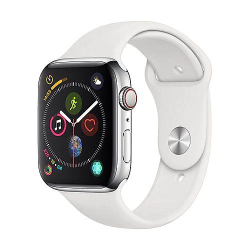 Apple Watch Series 4 LTE 44mm Edelstahlgehäuse mit Sportarmband Weiß [Cyberport]