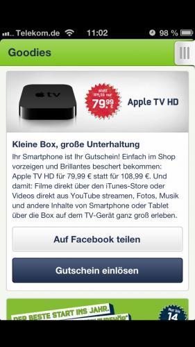 Apple TV 3 für Mobilcom-Debitel Kunden (79,99€)