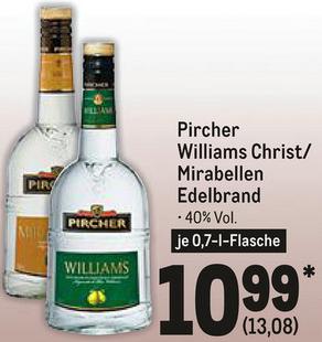 Pircher Williams Christbirnen oder Mirabellen Edelbrand für je 13,08€ (40%, 0.7l) [Metro]